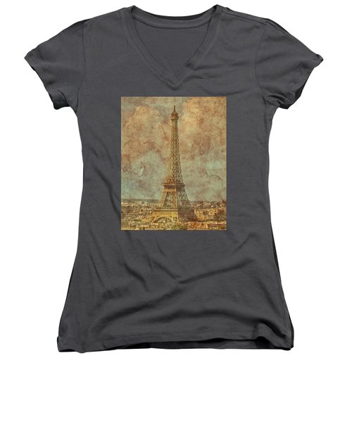 Paris, France - Eiffel Tower Women's V-Neck