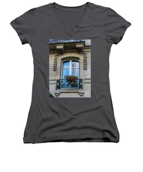 Eiffel Tower Paris Apartment Reflection Women's V-Neck T-Shirt (Junior Cut) by Mike Reid