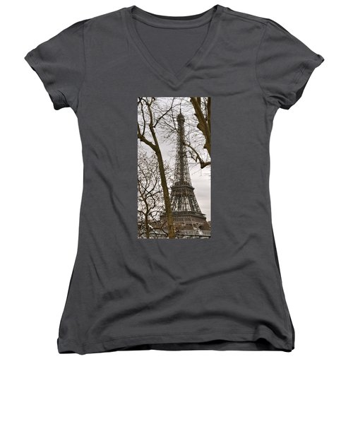 Eiffel Tower Through Branches Women's V-Neck (Athletic Fit)