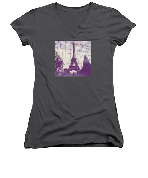 Eiffel Tower Through Fence Women's V-Neck T-Shirt (Junior Cut) by Aurella FollowMyFrench