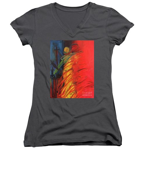 Women's V-Neck T-Shirt (Junior Cut) featuring the painting Eight Of Swords by Daun Soden-Greene