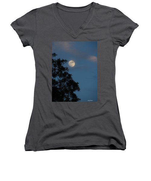 Women's V-Neck T-Shirt (Junior Cut) featuring the photograph Eight Thirty Two Pm by Greg Patzer