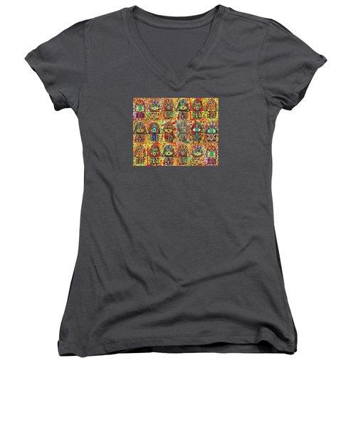 -eighteen Vintage Chai Hamsas Women's V-Neck T-Shirt (Junior Cut) by Sandra Silberzweig