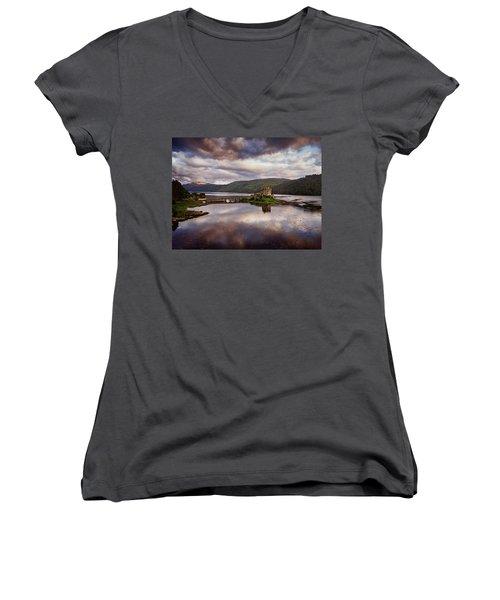 Eilean Donan Castle Women's V-Neck T-Shirt (Junior Cut) by Ian Good