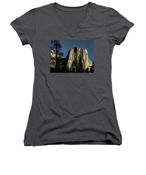 El Capitan By Starlight, Yosemite Valley, Yosemite Np, Ca Women's V-Neck