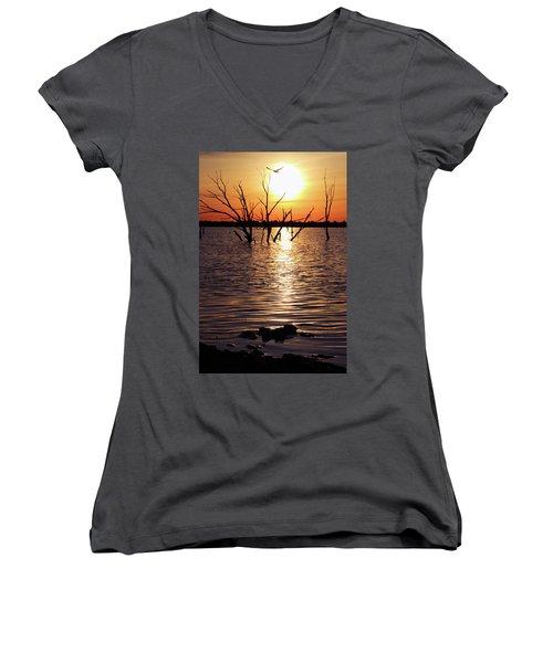 El Dorado Lake Morning Women's V-Neck T-Shirt