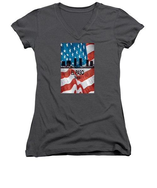 El Paso Tx American Flag Vertical Women's V-Neck T-Shirt (Junior Cut) by Angelina Vick