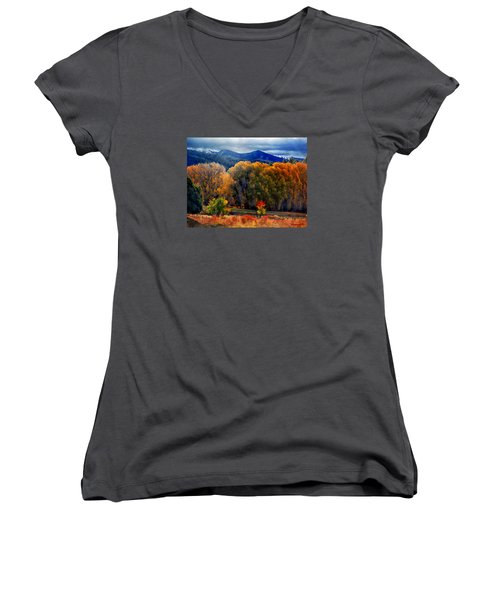 Women's V-Neck T-Shirt (Junior Cut) featuring the photograph El Valle November Pastures by Anastasia Savage Ealy