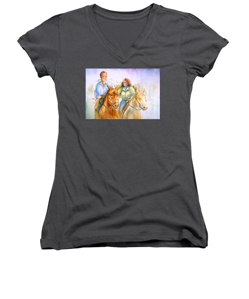 Women's V-Neck T-Shirt (Junior Cut) featuring the painting Eleanor And George by Patricia Schneider Mitchell