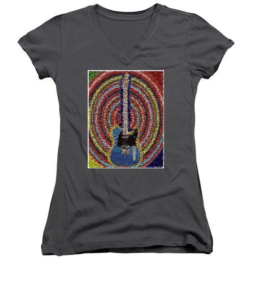 Women's V-Neck T-Shirt (Junior Cut) featuring the mixed media Electric Guitar Bottle Cap Mosaic by Paul Van Scott