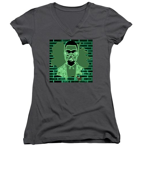 Electric Kanye West Graphic Women's V-Neck T-Shirt (Junior Cut) by Dan Sproul