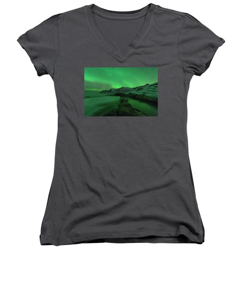 Women's V-Neck T-Shirt featuring the photograph Electric Night by Alex Lapidus