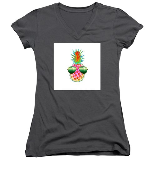 Electric Pineapple With Shades Women's V-Neck
