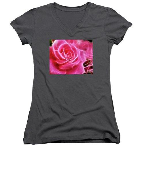 Electric Pink Women's V-Neck T-Shirt