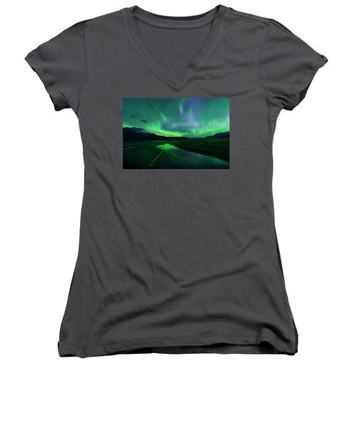 Electric Skies Over Jasper National Park Women's V-Neck T-Shirt