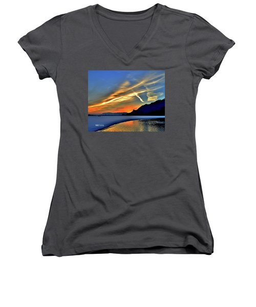 Electric Sunrise Women's V-Neck (Athletic Fit)