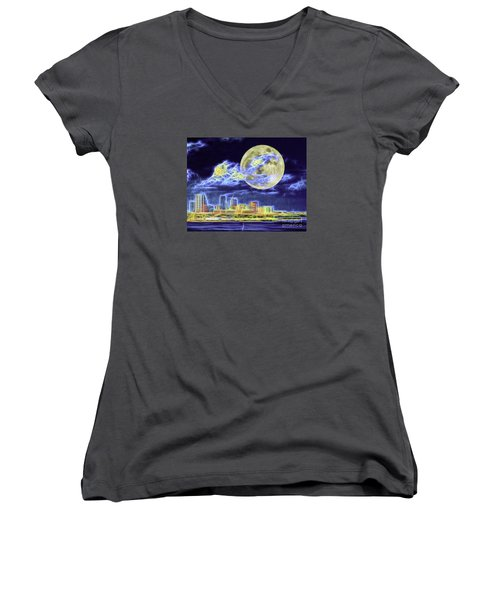 Electric Tampa Women's V-Neck T-Shirt (Junior Cut) by Ken Frischkorn