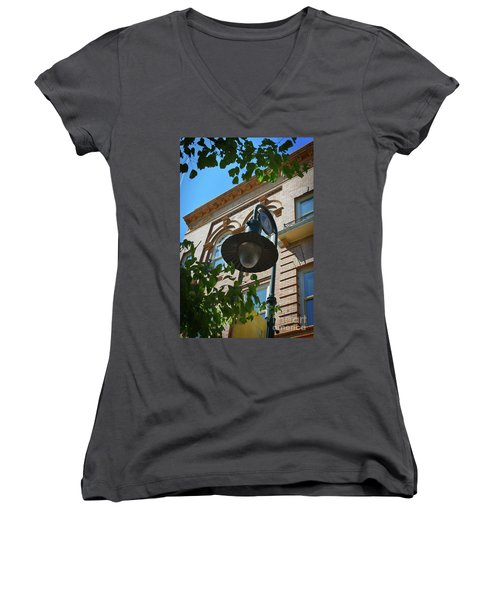 Women's V-Neck T-Shirt (Junior Cut) featuring the photograph Electrifying  Architecture by Skip Willits