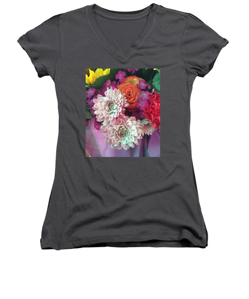 Elegant And Romantic Women's V-Neck T-Shirt (Junior Cut) by Peggy Stokes