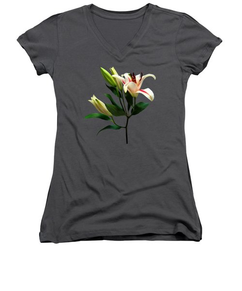 Elegant Lily And Buds Women's V-Neck