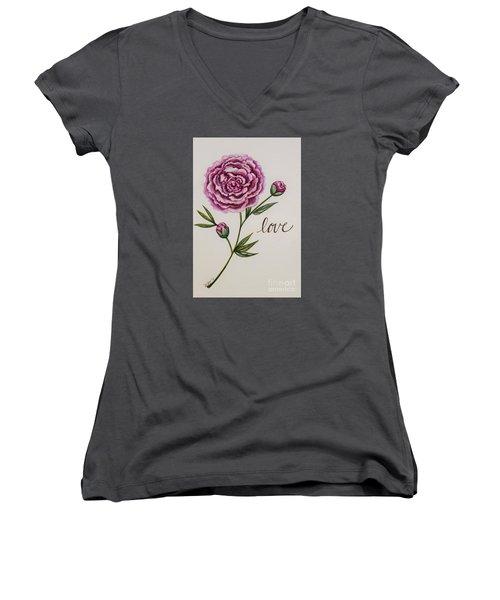 Elegant Love Women's V-Neck T-Shirt (Junior Cut) by Elizabeth Robinette Tyndall