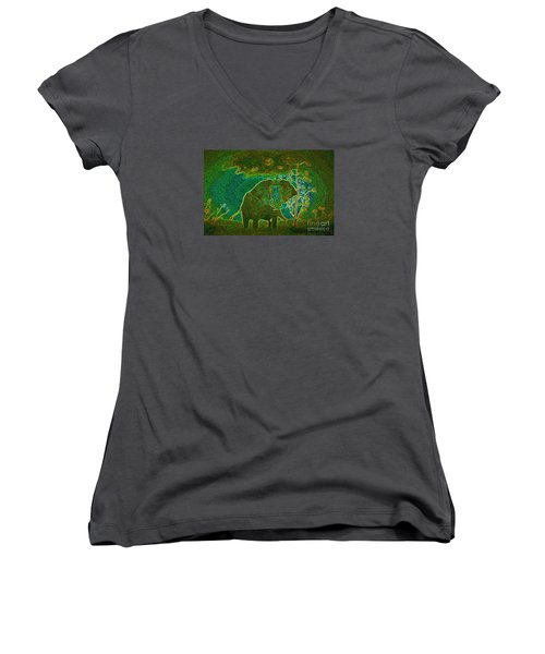 Women's V-Neck T-Shirt (Junior Cut) featuring the painting Elephant Abstract by John Stuart Webbstock