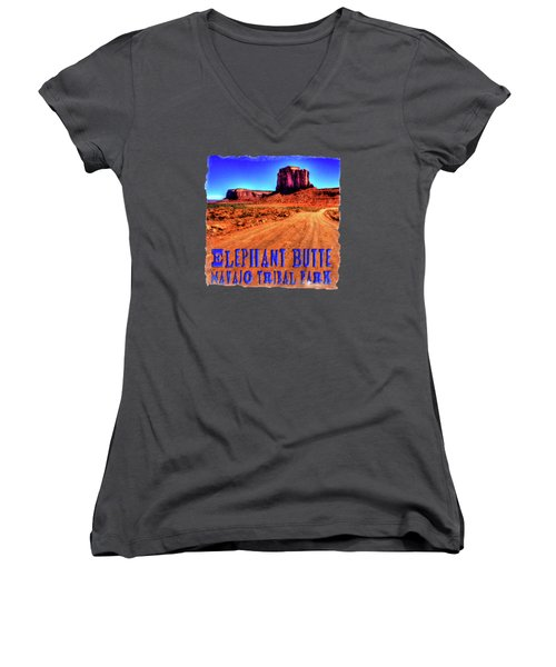 Elephant Butte Monument Valley Navajo Tribal Park Women's V-Neck T-Shirt