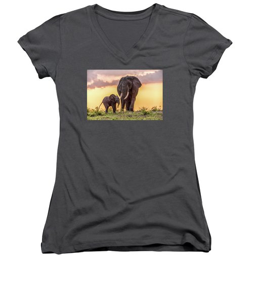 Elephants At Sunset Women's V-Neck T-Shirt (Junior Cut) by Janis Knight