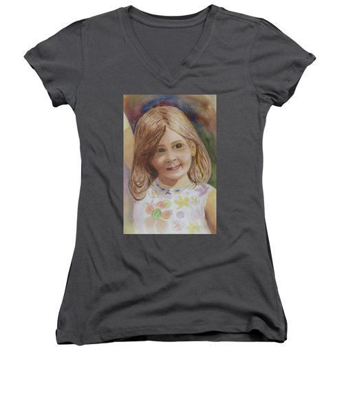 Women's V-Neck T-Shirt (Junior Cut) featuring the painting Elizabeth by Donna Walsh
