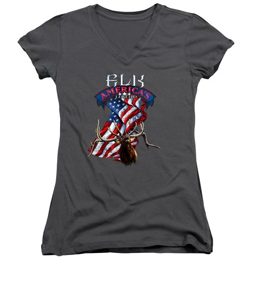 Elk America's Legend V2 Women's V-Neck T-Shirt (Junior Cut) by Rob Corsetti