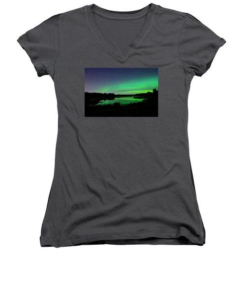 Elk Island Aurora Reflections Women's V-Neck