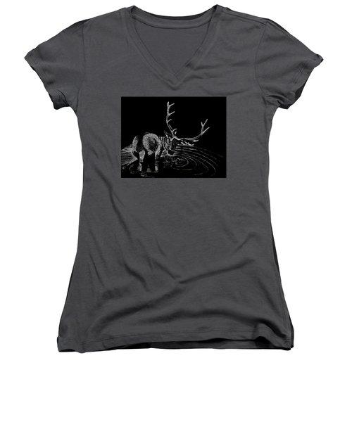 Elk Women's V-Neck T-Shirt (Junior Cut) by Lawrence Tripoli