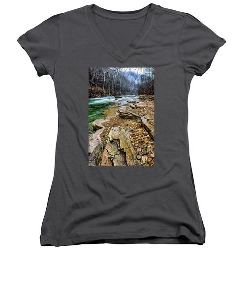 Women's V-Neck T-Shirt (Junior Cut) featuring the photograph Elk River In The Rain by Thomas R Fletcher