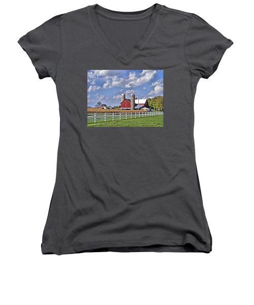 Elkhart County Farm Women's V-Neck (Athletic Fit)