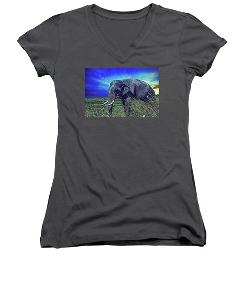 Women's V-Neck featuring the painting Elle by Harry Warrick