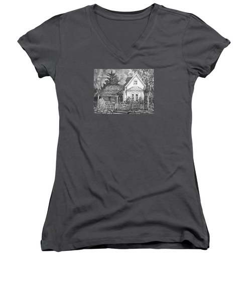 Women's V-Neck T-Shirt (Junior Cut) featuring the painting Elma's House In Bw by Gretchen Allen