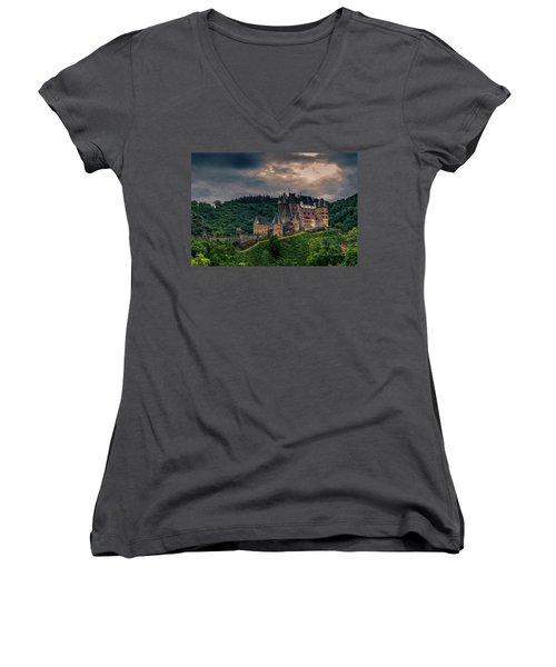 Eltz Castle Women's V-Neck T-Shirt (Junior Cut) by Martina Thompson