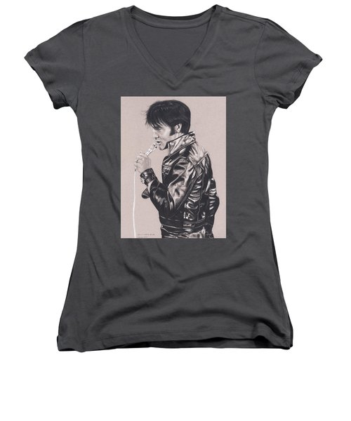 Elvis In Charcoal #177, No Title Women's V-Neck (Athletic Fit)
