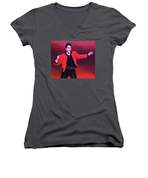 Elvis Presley 4 Painting Women's V-Neck T-Shirt (Junior Cut) by Paul Meijering
