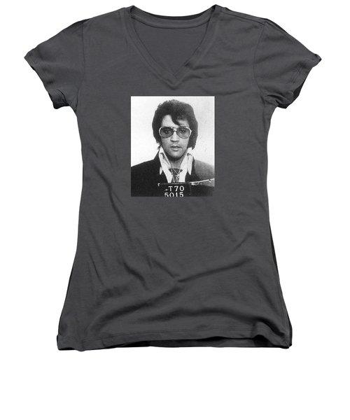 Elvis Presley Mug Shot Vertical Women's V-Neck T-Shirt (Junior Cut) by Tony Rubino
