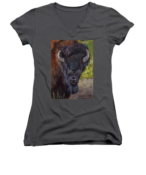 Elvis The Bison Women's V-Neck T-Shirt (Junior Cut) by Lori Brackett