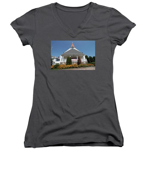 Emanuel Lutheran Church  Patchogue Ny Women's V-Neck