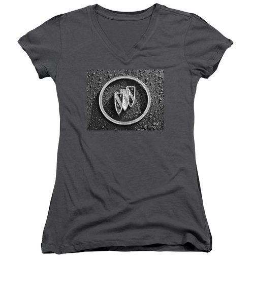 Women's V-Neck T-Shirt (Junior Cut) featuring the photograph Emblem Mono by Dennis Hedberg