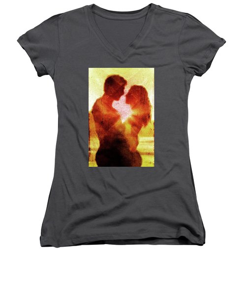 Women's V-Neck T-Shirt (Junior Cut) featuring the digital art Embrace by Andrea Barbieri