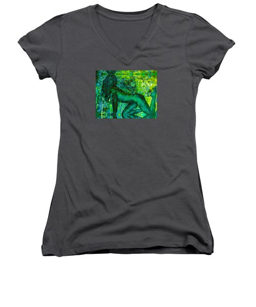 Emerald Green Sacred Sex Graffiti Women's V-Neck T-Shirt (Junior Cut) by Deprise Brescia