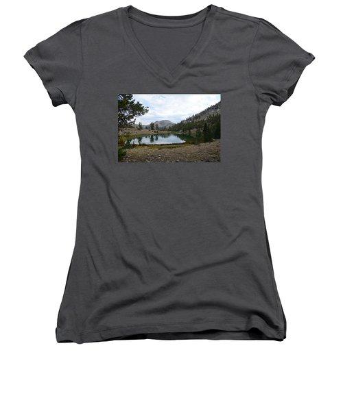 Women's V-Neck T-Shirt (Junior Cut) featuring the photograph Jarbidge Wilderness Emerald Lake by Jenessa Rahn