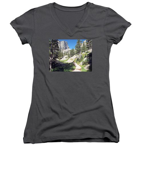Emerald Lake Trail - Rocky Mountain National Park Women's V-Neck T-Shirt (Junior Cut) by Joseph Hendrix
