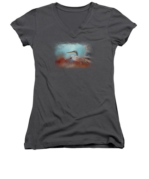 Emerging Heron Women's V-Neck T-Shirt