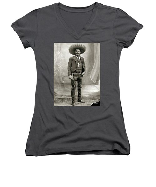 Women's V-Neck T-Shirt (Junior Cut) featuring the photograph Emiliano Zapata by Roberto Prusso