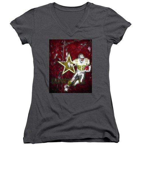 Women's V-Neck T-Shirt (Junior Cut) featuring the photograph Emmitt Smith Nfl Dallas Cowboys Gold Digital Painting 22 by David Haskett